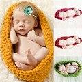 Newborn Fotografia Props Handmade Malha Chapéu Do Bebê Do algodão Saco De Dormir Pod Swaddle Cobertor de Malha 0-12 M 5 Cores