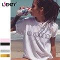 LIENZY Verão Engraçado Mulheres Camisa Branca T Você Fosse Cerveja Carta Boyfriend Camisa Das Mulheres T Topos