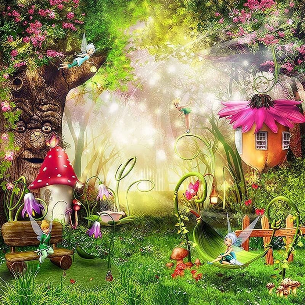 Fairytale Wonderland Enchanted Forest Background Old Tree Flowers Mushrooms Fairies Princess Baby Girl Birthday Party Backdrop enchanted forest 20 postcards