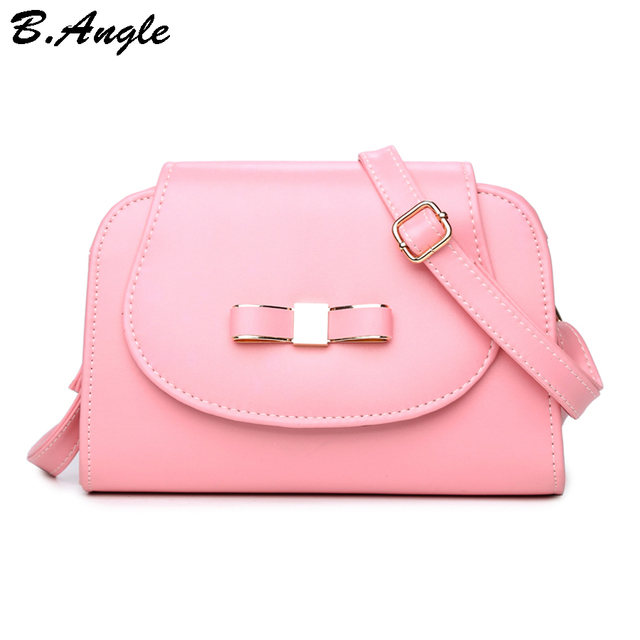 High Quality Lady And Cute Bow Messenger Bag Women Cross Body School Tote