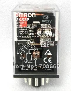 10set base + coil power relay MKS3P 11pin 2NO 2NC 10A(NO) 5A(NC) DPDT DC24V купить в Москве 2019