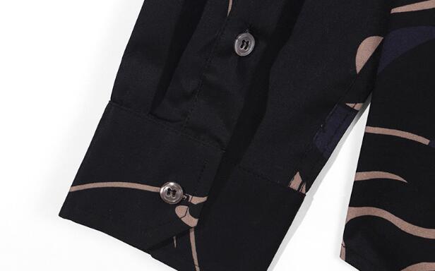 Мужские Брендовые повседневные рубашки с леопардовым принтом, мягкие классические мужские рубашки с длинным рукавом, черные мужские делов... - 5