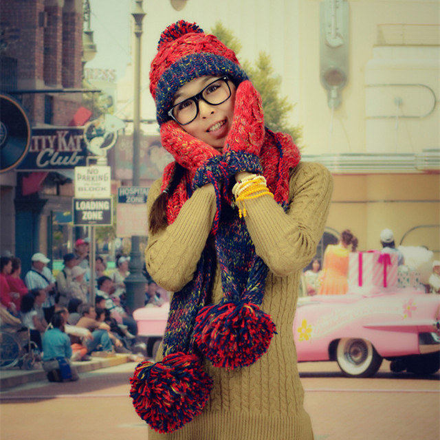 New Arrival 2016 High Quality Fashion Winter Women Knitted Scarf Hat Glove Set