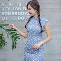 Toptan Tang Gösterisi Moda 100% Pamuk Çin Geleneği Öğrenci Kısa Kadın Cheongsam'lar Kulübü Dantel Qipao Elbise Kadın Vestidos