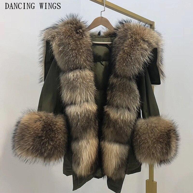 Épais chaud hiver veste femmes réel fourrure de raton laveur col à capuche canard doudoune manteau surdimensionné Parka