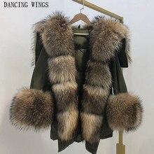 лучшая цена Thick Warm Winter Jacket Women Real Raccoon Fur Collar Hooded Duck Down Jacket Coat Oversized Parka