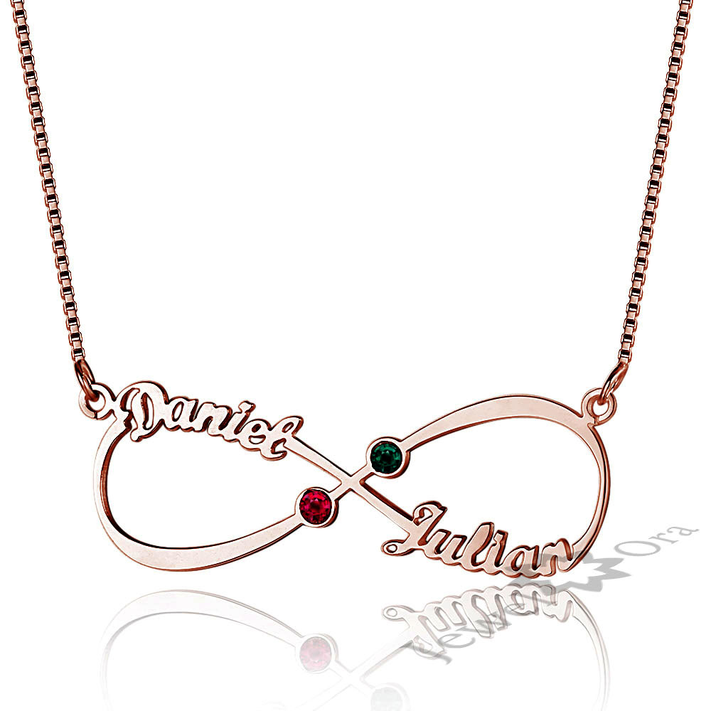18th Birthday Necklace Sterling Silver Custom Birthstone: Personalized DIY Couple Birthstone Names Necklace 925
