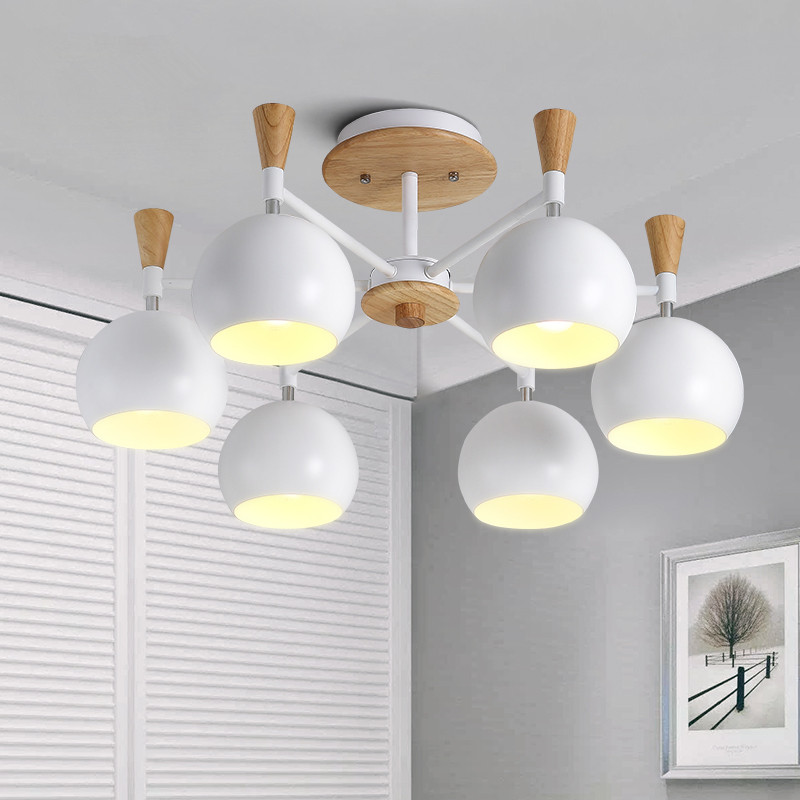 Nordic Modern Simplified Wooden Ceiling Lamp Living Room Bedroom Restaurant Creative Personality Round LED Home Decor Light