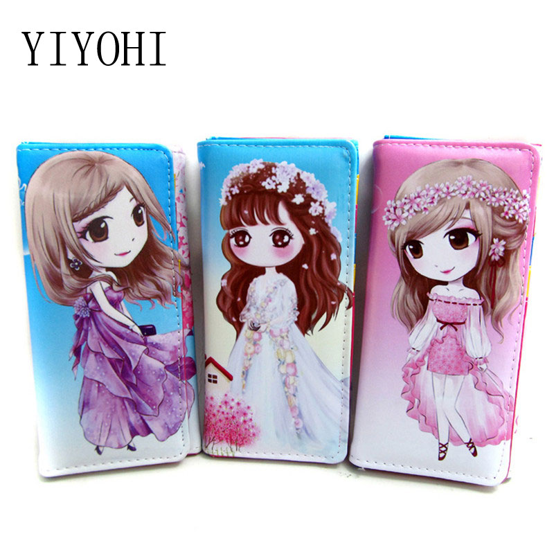 Women Girl Teenagers Cute Wallet Coin Purses Cartoon Print Holders PU Leather Clutch Wallet Female Long Hasp Money Wallets Bag