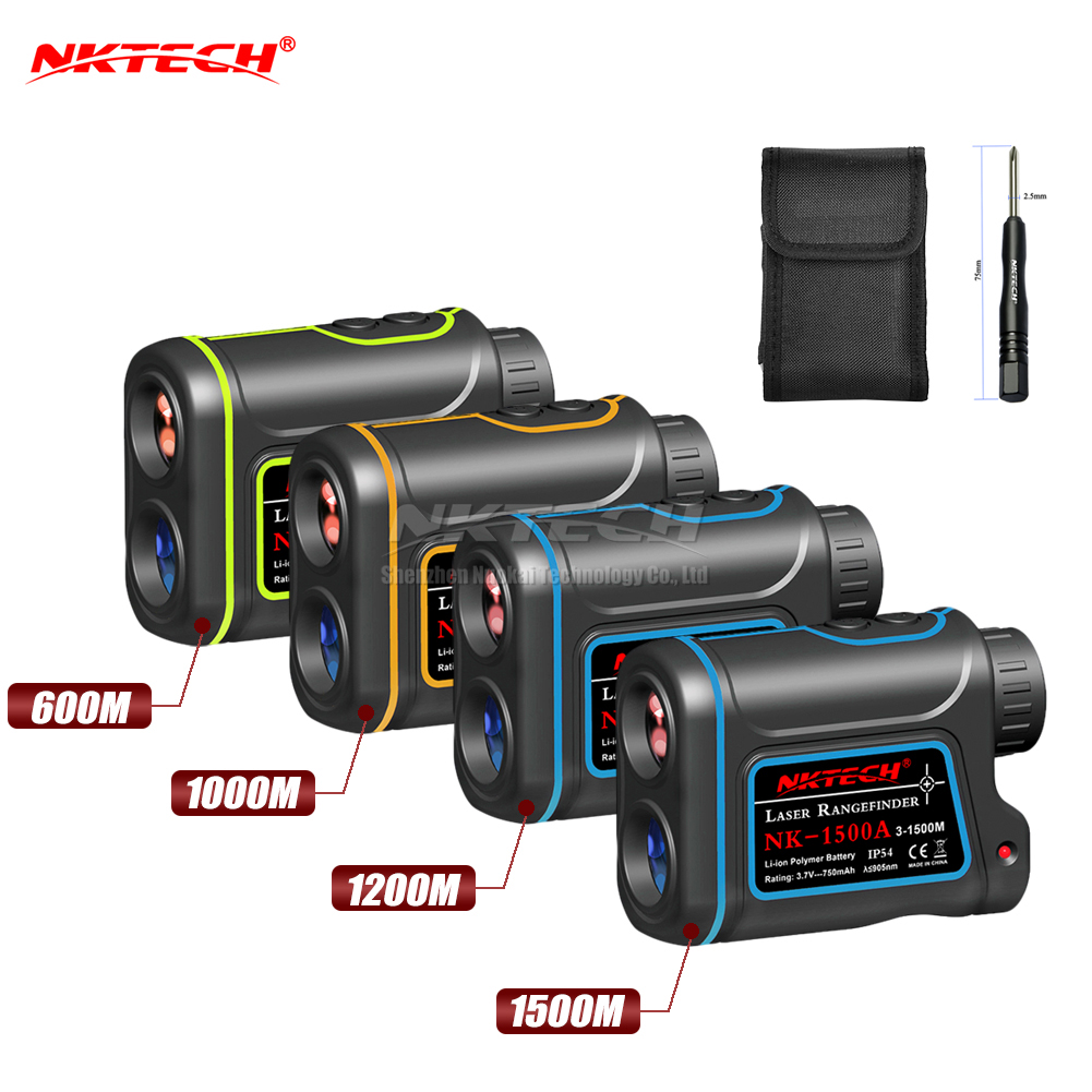 NKTECH Laser Rangefinder Distance Meter Hunting Golf 600m 1000m 1200m 1500m 4IN1 Telescope Speed Height Angle Scope Range Finder