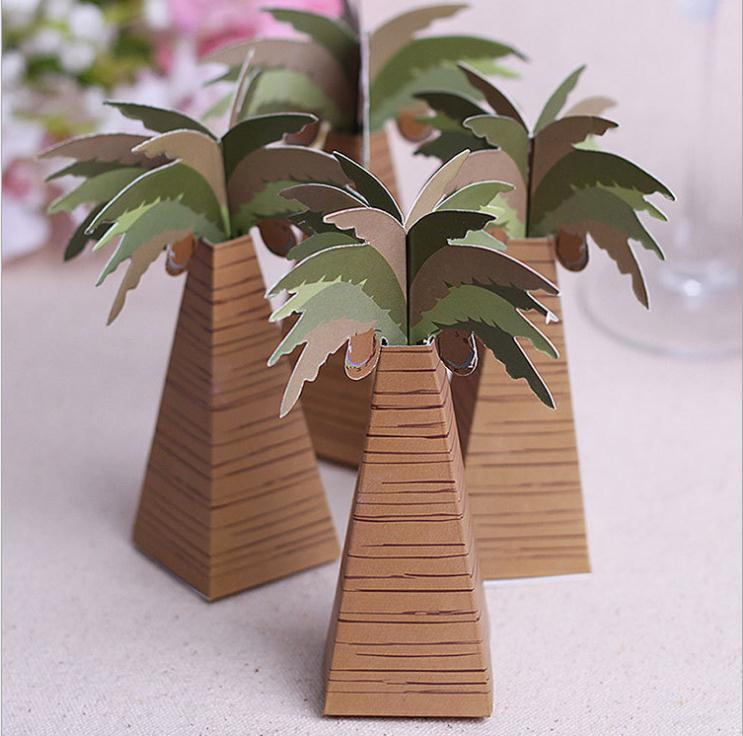 100pcs/lot Coconut Palm Tree Chocolate Candy Box Wedding