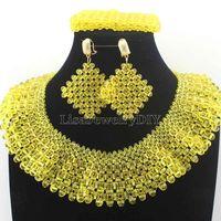 Ekskluzywny Żółty Marki Zestawy Biżuterii Ręcznie Wyplatane Chunky Zroszony Indian Bridal Jewelry Sets HD8717 Boże Narodzenie 2017 Nowy Bezpłatny Statek