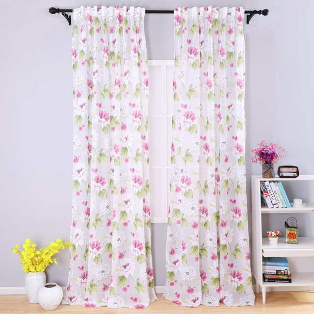 US $15.1 |Door spring semi sheer short Modern girl bedroom curtains fabrics  floral design curtains kitchen curtains balcony-in Curtains from Home & ...