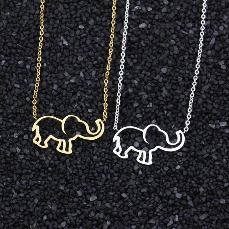 Origami Jewelry Silver Elephant Necklace Women Bridesmaid Gift Stainless Steel Chain Animal Pendant Bijoux Femme 2019