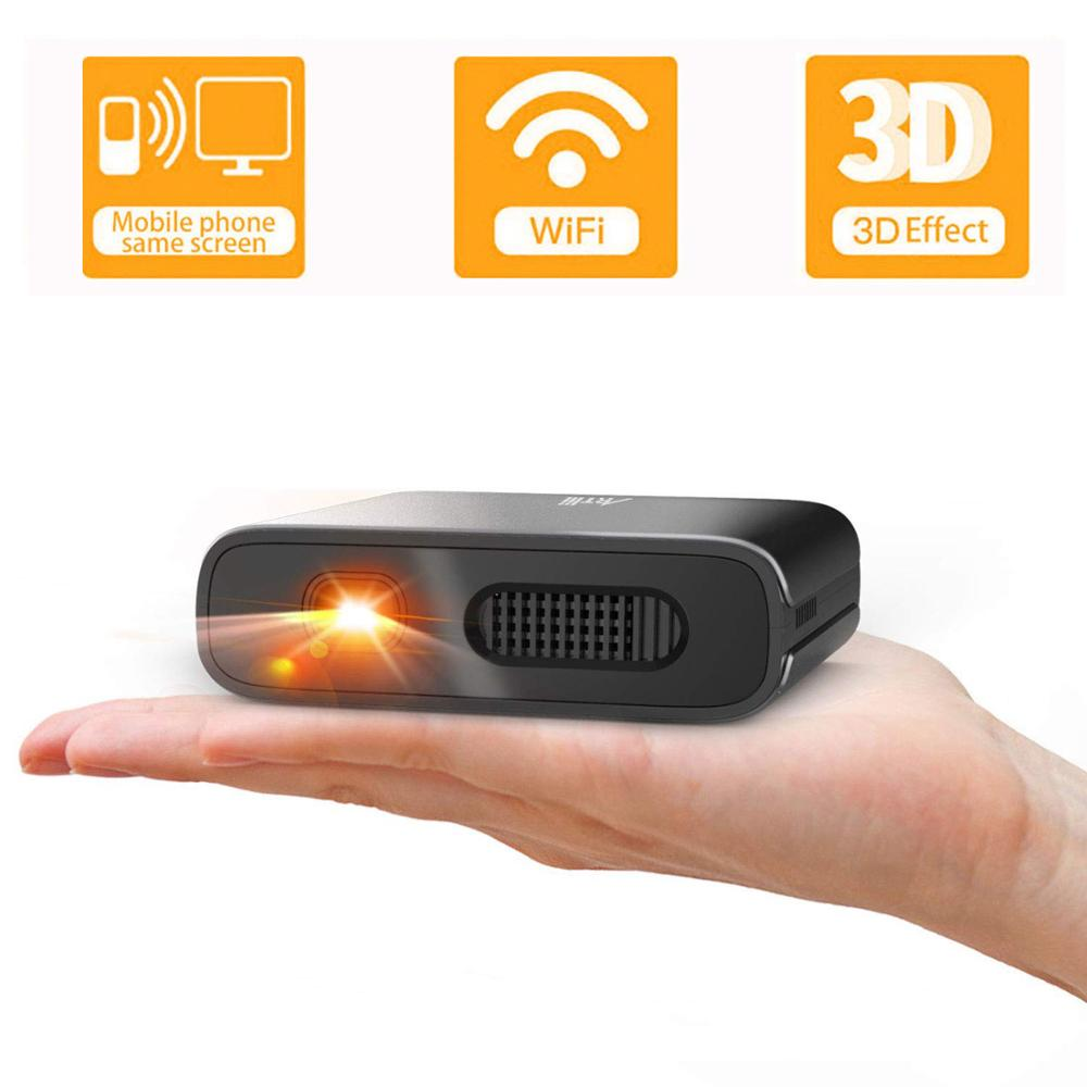 Artlii Mini projecteur Portable 3D écran miroir DLP Wi-Fi Smartphone Hotspot connexion projecteur Correction automatique de la clé de voûte