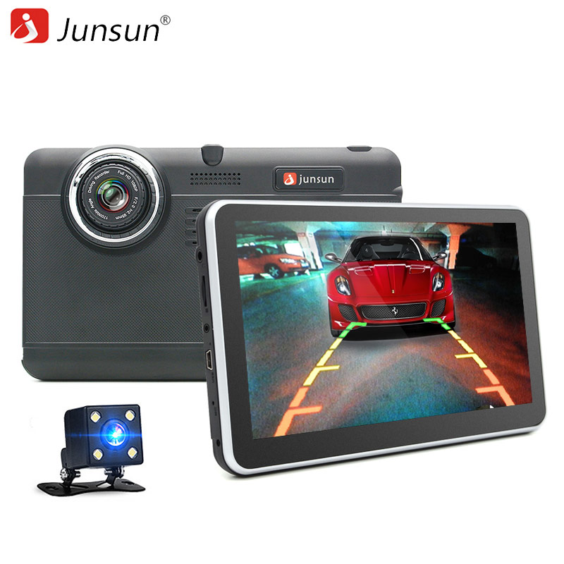 Junsun 7 Car DVR Camera video Recorder GPS Android Dual Lens full hd 1080p WIFI dvrs Registrar with Rearview camera dash cam 2 7 inch r310 tft lcd dual 2 lens car dvr video recorder
