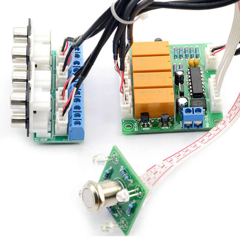 Lusya кнопка переключения реле 4 двухстороннее аудио Вход сигнала Селекторное переключение RCA аудио переключатель Вход выбор готовой платы B7-003