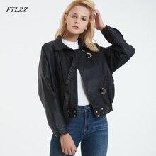 FTLZZ, осенне-зимняя куртка-бомбер большого размера, черная куртка с воротником-стойкой и рукавами из искусственной кожи, мотоциклетная куртка, женская одежда, верхняя одежда