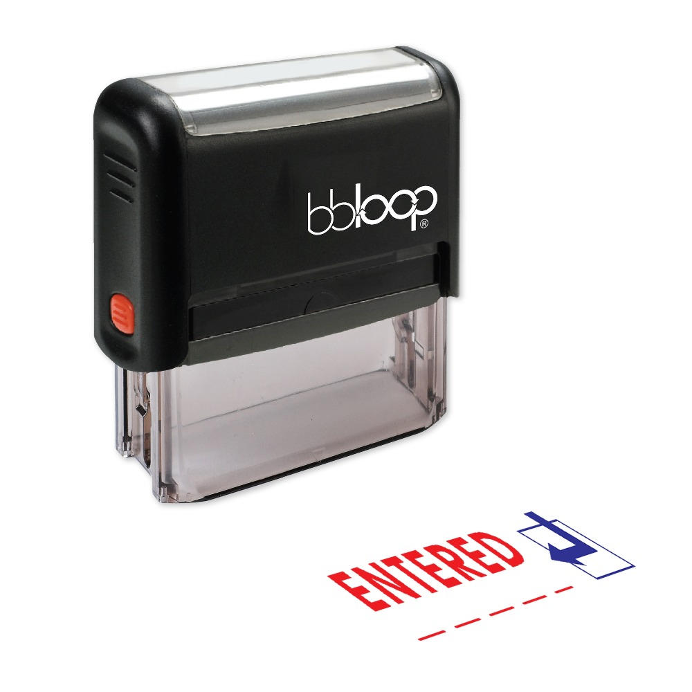 BBloop ENTERED W/Arrow Self-Inking Stamp, Rectangular, Laser Engraved, RED/BLUE/BLACK 10 digit 9 wheels gray light blue rubber band self inking numbering stamp