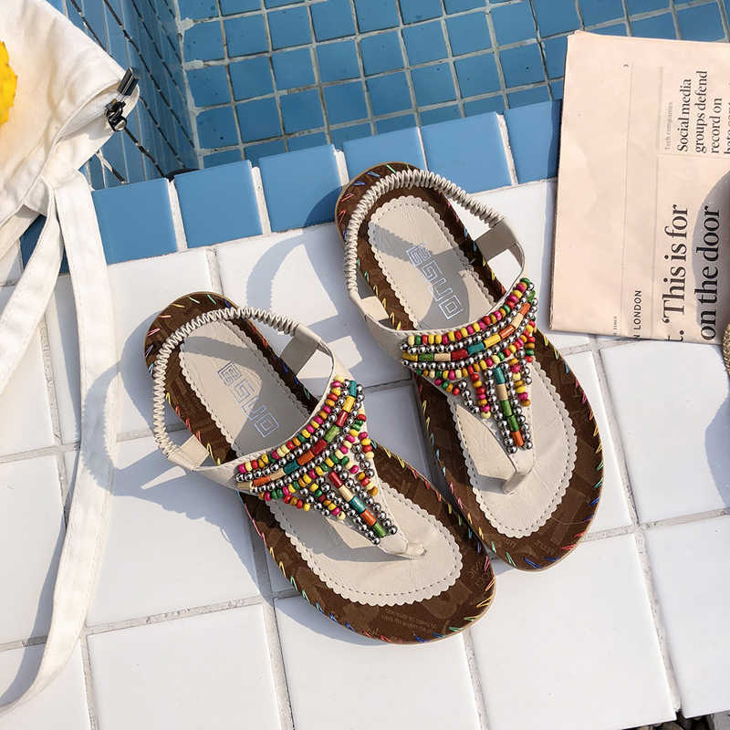 new women Bohemia Flat sandals shoes women String Bead Decoration beach  sandals casual shoes Women Clip 1c19cb24b33b