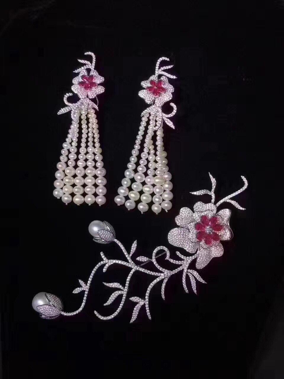 bridal jewelry sets natural fresh water pearl tassels earring and brooch sets 925 sterling silver flower long earring fine jewel