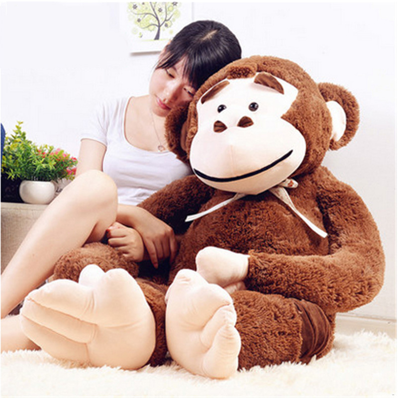 Fancytrader Jumbo Big Animal Orangutan Plush Toys Giant Soft Stuffed Cartoon Monkey Doll 165cm Brown Purple Kids Gifts fancytrader new style giant plush stuffed kids toys lovely rubber duck 39 100cm yellow rubber duck free shipping ft90122
