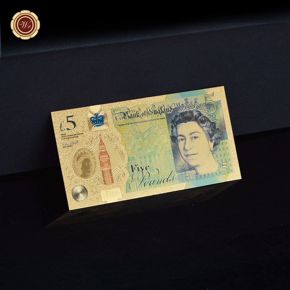 WR NEW UK Pound 24k Gold Banknote Colorful Paper Money 5 Pound Elizabeth II Banknote World for Collection Gifts