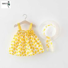 Casual Toddler Kids Dress Child Baby Girls Dresses Halter Sleeveless Bow Baby Girl Cute Dress Summer Clothes Send a Hat 70-100(China)