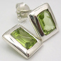 Solid Silver Natural PERIDOT Lovely Inexpensive Stud Post Earrings 1CM