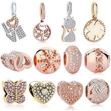 Original 925 granos del encanto de la plata esterlina corazón Árbol de la familia de cristal de oro rosa cuentas Pandora auténticos encantos de la joyería de la pulsera