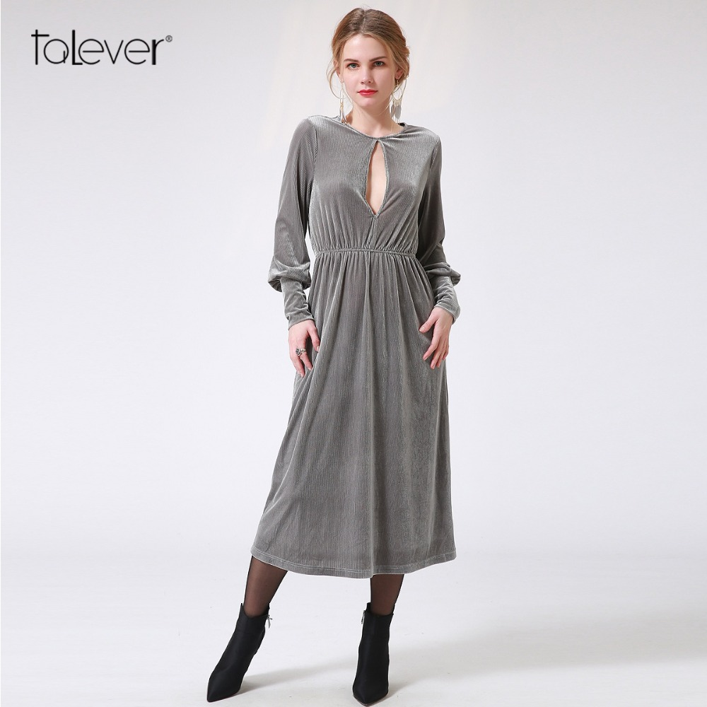 Talever 2017 Sexy Senior Gold Velvet Dress Long Sleeve Waist Elasticity Women Dress Sexy Hollow Out Gray Autumn Dress Plus Size