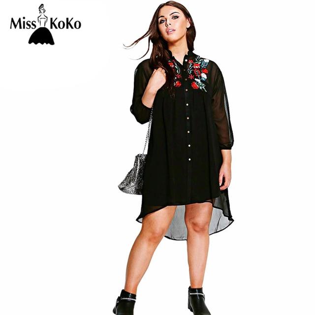 cdbcc29ead MissKoKo Plus Size Fashion Women Clothing Casual Embroidery Print Dress  Long Sleeve A-line Big Size Dress 3XL 4XL 5XL 6XL