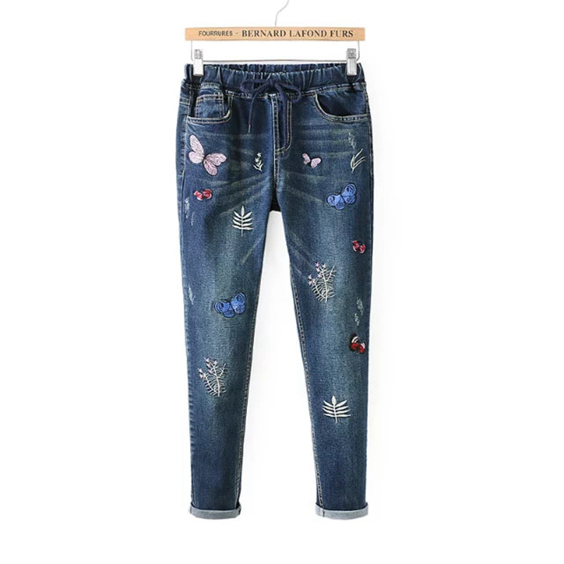 Floral Embroidery Jeans Women Winter Skinny Straight Denim Pants Female Vintage Dark Blue Trousers Pencil Jeans Plus Size women girls casual vintage wash straight leg denim overall suspender jean trousers pants dark blue