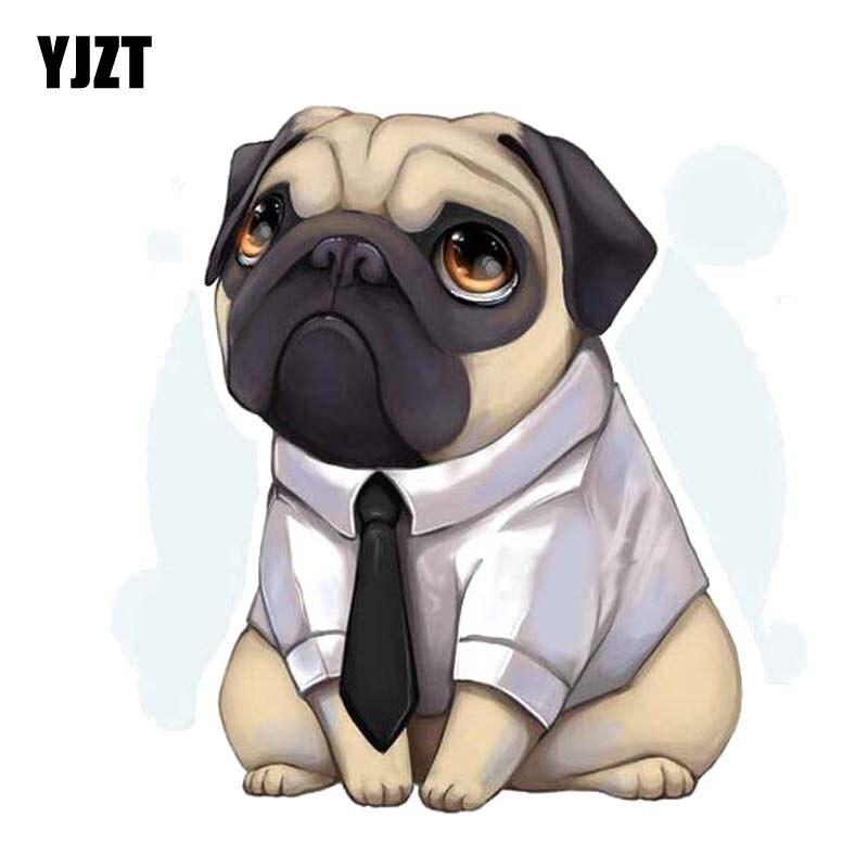YJZT 13.6CM*13.7CM A Dog Wearing A Shirt Hat A Tie Dog PVC Decal Car Sticker 12-300277
