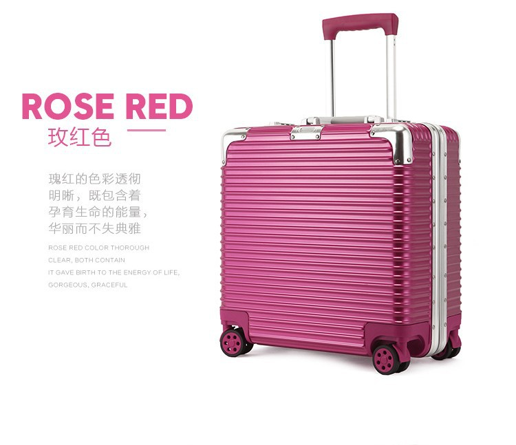 New business PC aluminum frame rod box boarding universal wheel travel bags 18-inch box password suitcase FNB1602