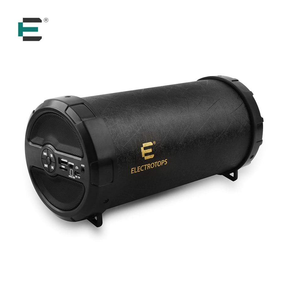 89mm Portable Big Bass PU Leather Bluetooth Outdoor Speaker Column Boom Box Loudspeaker Support
