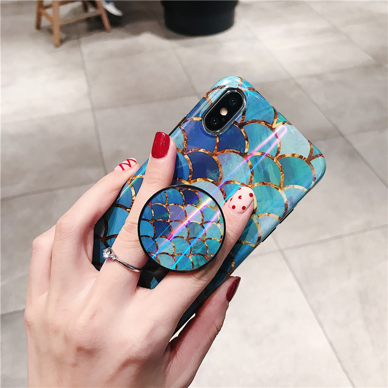 Shiny mermaid scales laser phone cases for iphone 7 8 X XR XS Max 6 S 6s 7 8 plus Ring air bag Stand holder Grip case back cover (3)