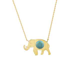 ACEBFEET Stainless Steel Gold Elephant Pendant Necklace Women Bohemian Jewelry Trendy Stone Charm Chokers Femme Bijoux BFF