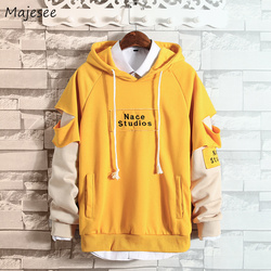 Hoodies Men Hooded Hole Letter Printed Loose Simple All-match Korean Style Harajuku Sweatshirts Mens Trendy Soft Clothing Chic 1