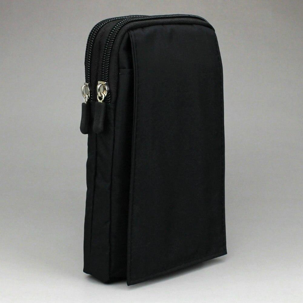 Big Size Smartphone Bag Double Zip 3 Pocket with Belt Holder & Carabiner Clip Pouch Case ...
