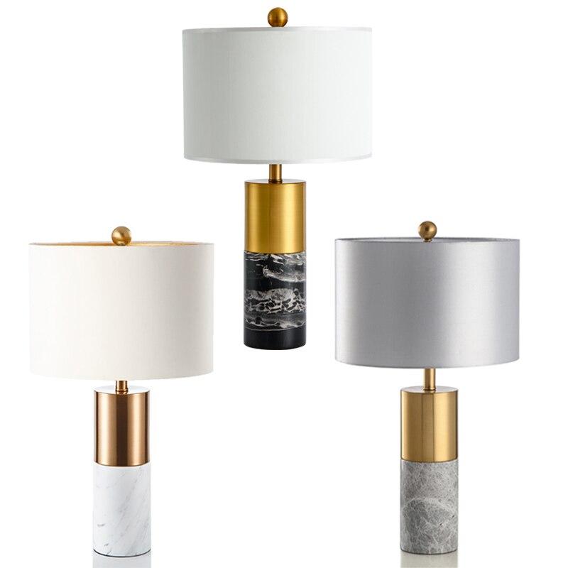 Modernen Amerikanischen luxus metall dekorative tisch lampe Chinesischen stil wohnzimmer studie schlafzimmer einfache jazz weiß marmor tisch lampe