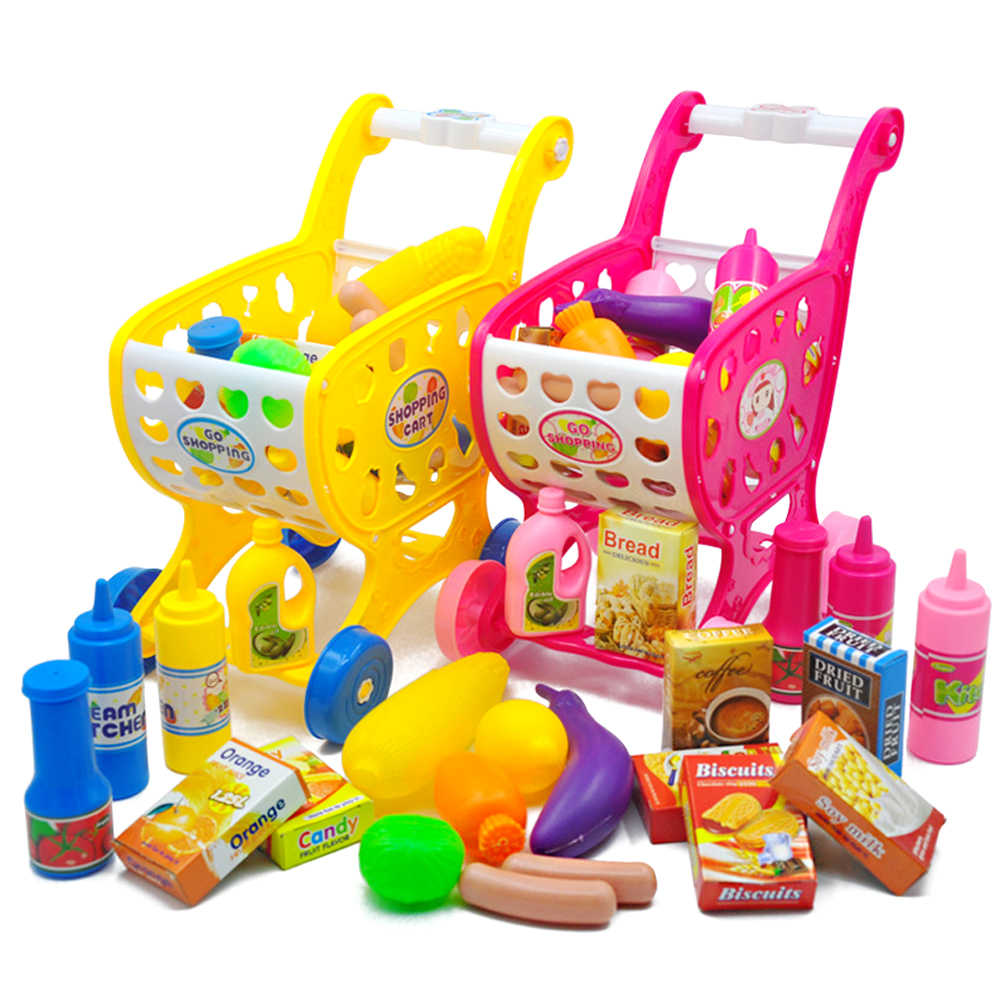 37pcs Mini Supermarket Shopping Cart Toys Simulation Basket Plastic Food Vegetable Toy for Kids Trolley Girls Pretend Play Game