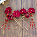 Fashion red flower harpins women hair clips rhinestone girl hairwear handmade pins bride fascinator wedding accessories hr020