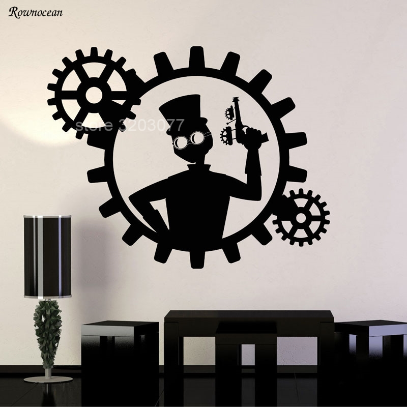 Steampunk Man Gun Gears Home Decor Vinyl Wall Stickers