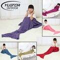 Yuetor 140*70cm Kid knitted handmade crochet  throw bed Wrap super soft Mermaid Tail blanket  sleeping bag for child