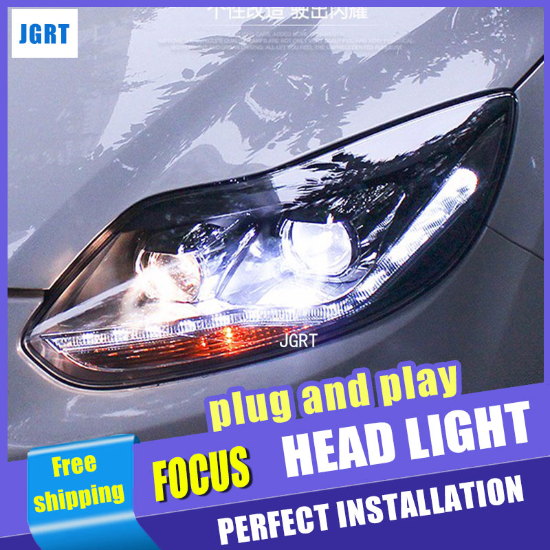 Car Styling for PW Ford Focus Headlight assembly New Focus LED Headlight DRL Lens Double Beam H7 with hid kit 2pcs. hireno headlamp for 2013 2015 ford kuga escape se headlight headlight assembly led drl angel lens double beam hid xenon 2pcs