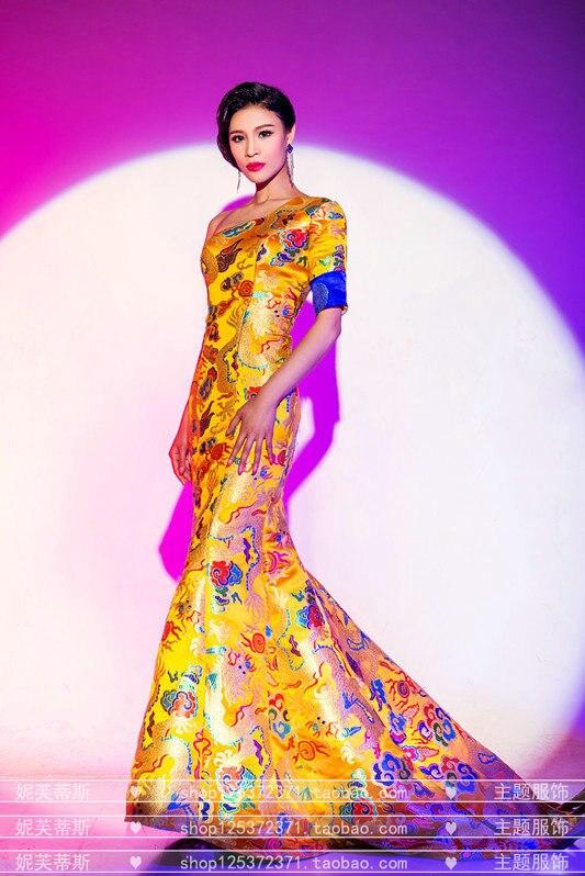 Gland Mariage De Une Mariée Qipao Oriental La Femmes Jaune Dragon Costume Nouveau Taille Robe Cheongsam Plus Longue Épaule Chinois YxtqXEpXw