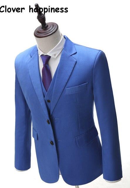 Real Azul Blazer Smoking Masculino Slim Fit Ternos de Casamento Dos Homens Feitos Sob Encomenda de 3 Peças para Homens (jacket + pants + colete)