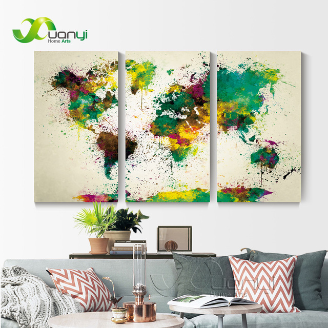 3 panel map vintage world painting on the wall canvas world map wall 3 panel map vintage world painting on the wall canvas world map wall art for living gumiabroncs Gallery