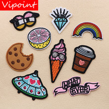 VIPOINT embroidery orange eyes patches ufo foods badges applique for clothing XW-37